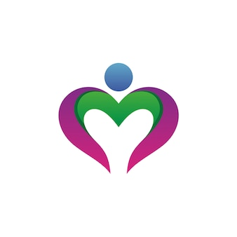 人間の形のロゴのベクトルと心