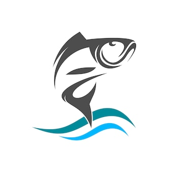 Рыбный силуэт прыгает с водного логотипа