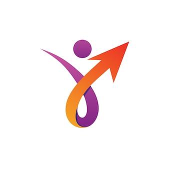 矢印のロゴのベクトルを持つ人々
