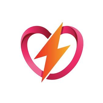 愛と雷のロゴのベクトル