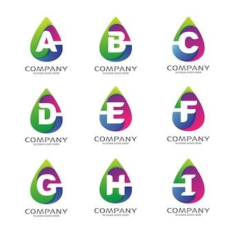 抽象的な形のロゴのセットのアルファベット