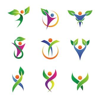 Травяные коллекции логотипа здравоохранения
