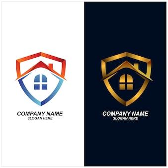 家の盾のロゴのデザインのベクトル