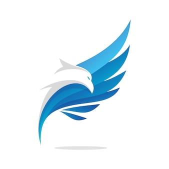 空飛ぶワシの抽象的なロゴデザイン
