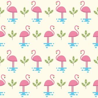Бесшовный фон фламинго в плоской иллюстрации