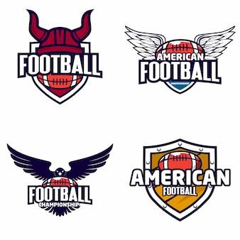 カラフルなアメリカンフットボールのロゴのセット