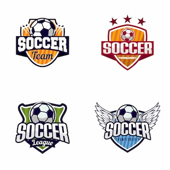 サッカーサッカーバッジのロゴのセット