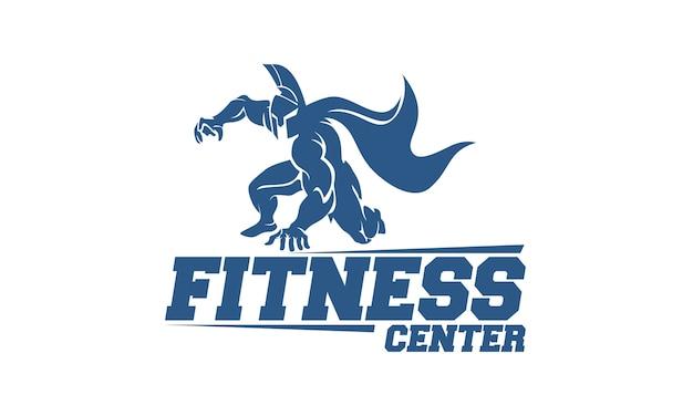 スパルタンの戦士とフィットネスセンターのロゴデザインテンプレート