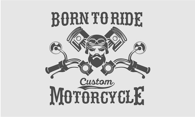 オートバイのヘルメットの男の頭とヴィンテージオートバイプリント