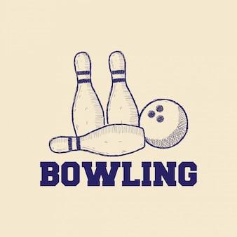 Концепция дизайна логотипа боулинг