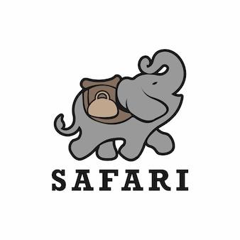 アフリカのサファリ象のロゴ