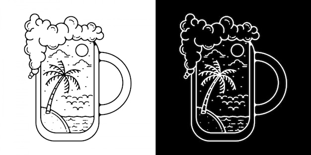 Чашка пива на пляже монолайн винтажный открытый дизайн
