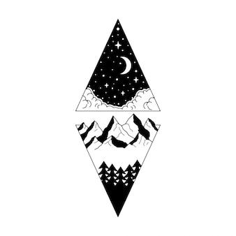 Приключенческий монолайн винтажный дизайн значка