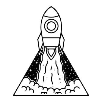 Ракета монолайн открытый дизайн логотипа
