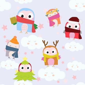 Симпатичные мультфильм праздновали сова и подарок бесшовные шаблон