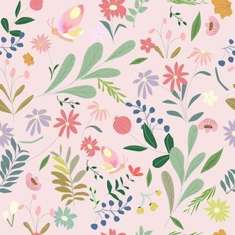 かわいい甘い植物の花のシームレスなパターン
