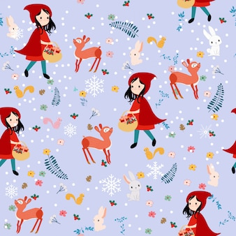 Симпатичные бесшовные модели красная капот девушка и диких животных