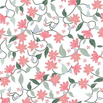 Розовый и зеленый ботанический цветочный цветок бесшовные модели