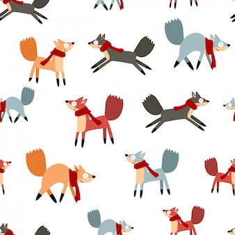 Симпатичные смешные зимние мультфильм лиса бесшовные модели