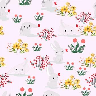 Милый кролик в цветочном саду бесшовные модели
