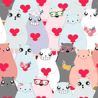 Бесшовный узор милый плюшевый мишка валентина