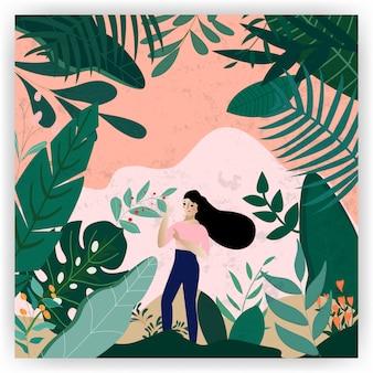 植物の森の背景カードフラットスタイルでかわいい女の子