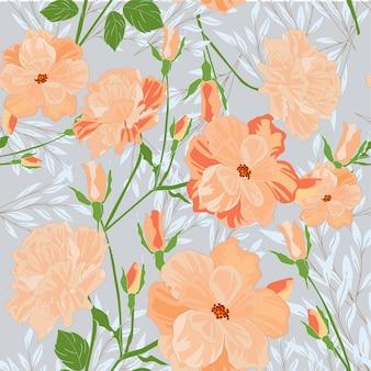 かわいい甘いオレンジピンクの野生の花の花のシームレスパターン