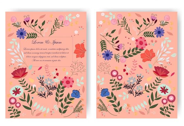赤ピンクの植物の野生の花のウェディングカード