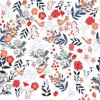 スウィートレッドピンクとブルーのワイルドフラワーフレームのシームレスパターン