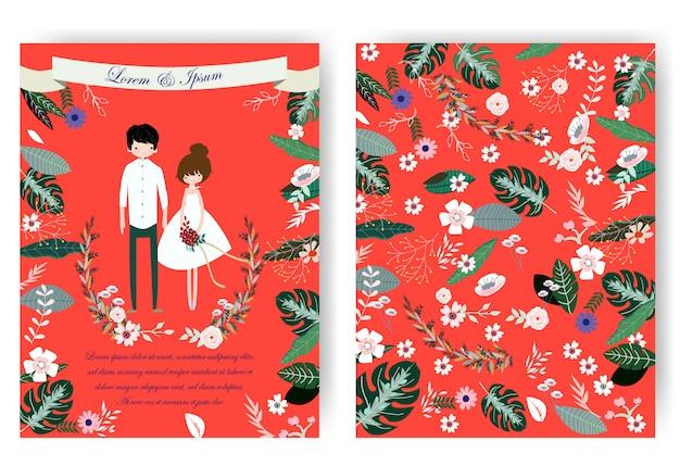 かわいいカップルと赤のウェディングカードにピンクの花の花