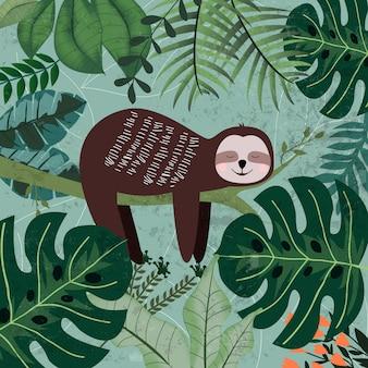 熱帯のジャングルでナマケモノの睡眠