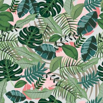 緑の熱帯のジャングルのシームレスパターン