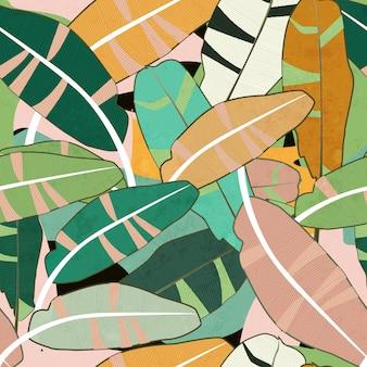 Бесшовный фон из разноцветных листьев