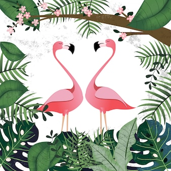 ピンクの熱帯のジャングルの中でフラミンゴの恋人