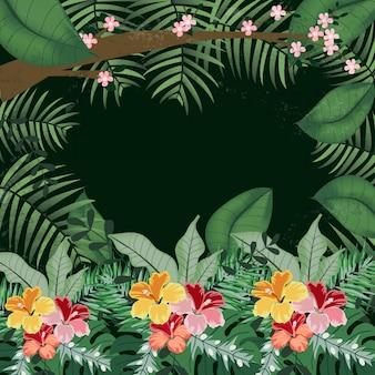 熱帯のジャングルの中でピンクと桃の花