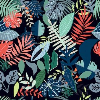 カラフルな葉のシームレスパターン