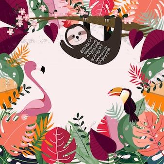 ピンクの熱帯のジャングルの中の動物