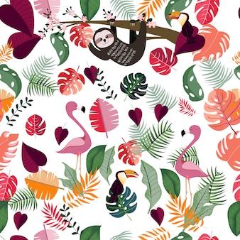 ピンクの熱帯のジャングルのシームレスパターンの動物