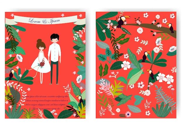 かわいい甘いカップルと赤いウェディングカードのピンクの花の花