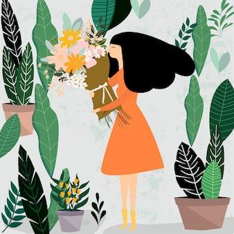 女性と彼女の花の束