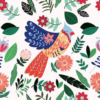 Красочная летняя птица в цветочном саду