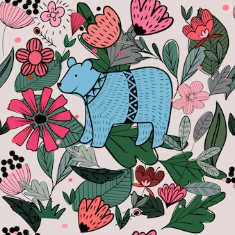 Симпатичные бесшовные модели медведь и дикий цветок