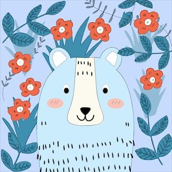 Милый синий медведь в саду