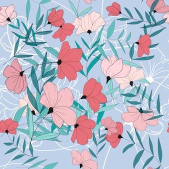 Розовые цветы бесшовные модели