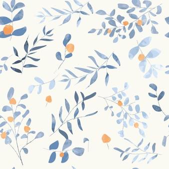 青い花のシームレスパターン