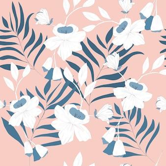 青い枝と花のシームレスパターン