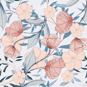 水彩花柄フラワーブランチパターン