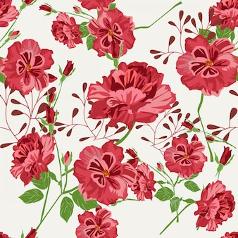 Красный цветок бесшовный фон