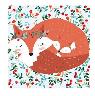 Фома мама и ребенок в довольно вишневом ягодном лесу
