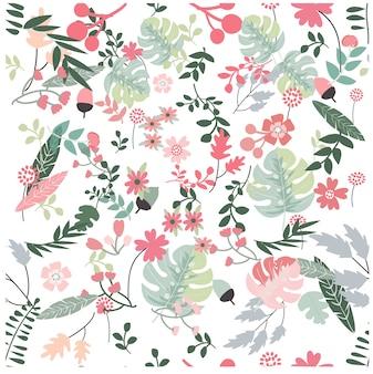 花と熱帯植物のシームレスなパターンを残す